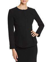Emporio Armani | Emporio Armani Pleated Wool Peplum-Effect Jacket | Clouty