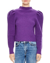 Sandro | Sandro Hibou Ribbed Oversize-Shoulder Wool Sweater | Clouty