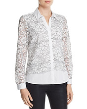 KARL LAGERFELD | Karl Lagerfeld Paris Floral-Embroidered Lace-Overlay Blouse | Clouty