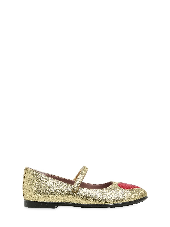 GUCCI | Heart Glitter Leather Ballerina Flats | Clouty