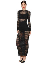 "Dolce & Gabbana   Платье ""See-Through"" Из Стретч Кружева В Полоску   Clouty"