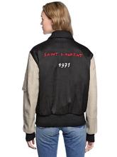 SAINT LAURENT   Атласная Куртка-Бомбер Оверсайз С Вышивкой   Clouty