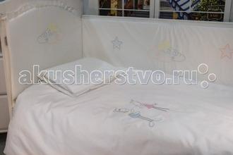 Makkaroni Kids   Комплект в кроватку Makkaroni Kids Horses 120х60 (6 предметов)   Clouty