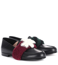 FENDI | Fur-embellished leather loafers | Clouty