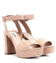 MIU MIU | Suede plateau sandals | Clouty