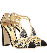 Dolce & Gabbana | Crystal-embellished satin and leather pumps | Clouty