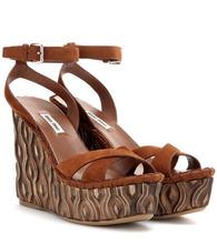 MIU MIU | Suede platform wedge sandals | Clouty