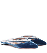 Aquazzura | Sabine embellished velvet slippers | Clouty