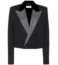 SAINT LAURENT | Crystal-embellished tuxedo jacket | Clouty