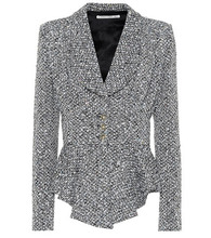 Alessandra Rich | Peplum wool-blend boucle jacket | Clouty