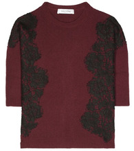 VALENTINO | Lace-embellished wool and cashmere sweater | Clouty
