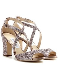 Jimmy Choo | Carrie 85 glitter embellished leather sandals | Clouty