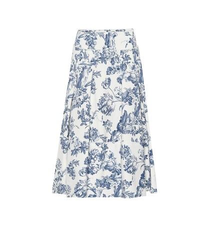 Oscar De La Renta | Printed stretch cotton skirt | Clouty