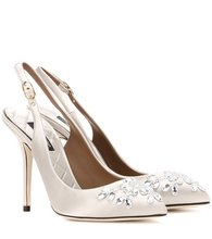 Dolce & Gabbana | Bellucci embellished satin slingback pumps | Clouty