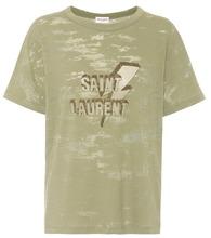 SAINT LAURENT | Printed devore jersey T-shirt | Clouty