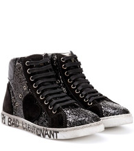 SAINT LAURENT | Antibe 05 glitter high-top sneakers | Clouty