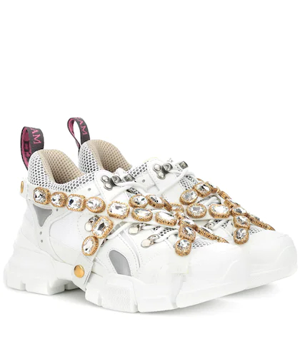 GUCCI   Flashtrek embellished sneakers   Clouty