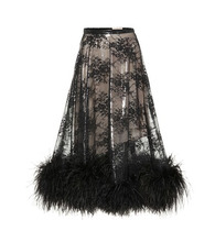 CHRISTOPHER KANE   Feather-trimmed lace skirt   Clouty