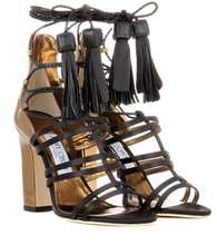 Jimmy Choo | Diamond 100 satin and leather sandals | Clouty
