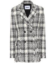 MSGM | Plaid cotton-blend tweed blazer | Clouty