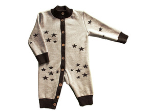 Merri Merini | Комбинезон Merri Merini вязаный Звезды, с кокосовыми пуговицами бежевый/шоколад, р.80 | Clouty