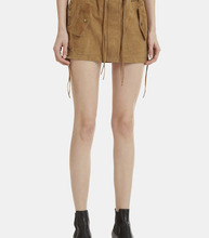 SAINT LAURENT | Lace-Up Suede Mini Skirt | Clouty
