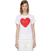 Comme Des Garçons Play   Comme des Garcons Play White Double Heart T-Shirt   Clouty