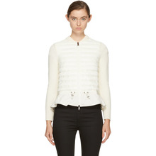 MONCLER | Moncler Off-White Down Knit Peplum Jacket | Clouty