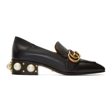 GUCCI | Gucci Black Leather Pearl Loafers | Clouty