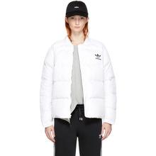 adidas Originals   adidas Originals White Down Superstar 3-Stripes Jacket   Clouty