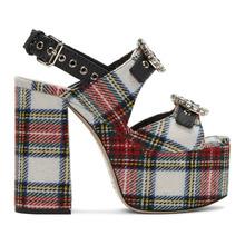 MIU MIU | Miu Miu Multicolor Tartan Platform Sandals | Clouty