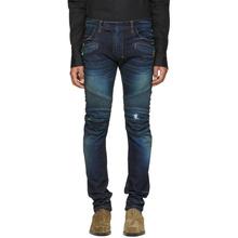 BALMAIN   Balmain Blue Vintage Distressed Biker Jeans   Clouty