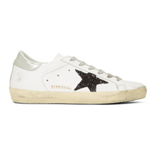 Golden Goose Deluxe Brand | Golden Goose White and Black Glitter Superstar Sneakers | Clouty