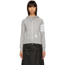 Thom Browne | Thom Browne Grey Classic Four Bar Zip Hoodie | Clouty