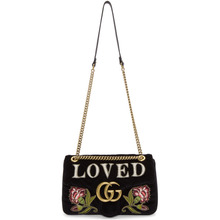 GUCCI | Gucci Black Velvet Medium Loved GG Marmont 2.0 Bag | Clouty