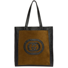 GUCCI | Gucci Brown and Black Large Suede Ophidia Tote | Clouty