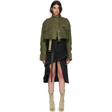 Off-White | Off-White Green Diagonal Cropped M65 Military Jacket | Clouty