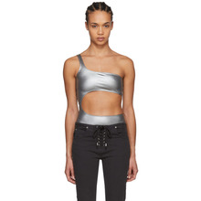 Isabel Marant | Isabel Marant Silver Sally One-Shoulder Bodysuit | Clouty