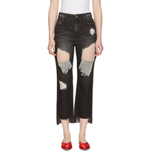 SJYP | SJYP SSENSE Exclusive Black Ripped Boyfriend Jeans | Clouty