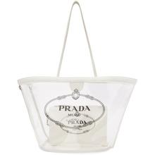 PRADA | Prada White PVC Logo Tote | Clouty