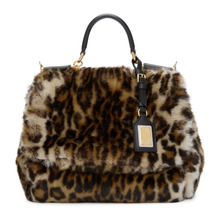 Dolce & Gabbana | Dolce and Gabbana Multicolor Miss Sicily Leopard Eco-Fur Bag | Clouty