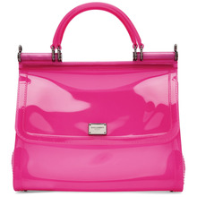 Dolce & Gabbana | Dolce and Gabbana Pink Small Rubber Miss Sicily Bag | Clouty