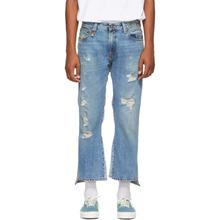 R13   R13 Blue Double Kick Back Jeans   Clouty