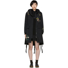 VALENTINO RED | RED Valentino Black Floral Anorak Coat | Clouty