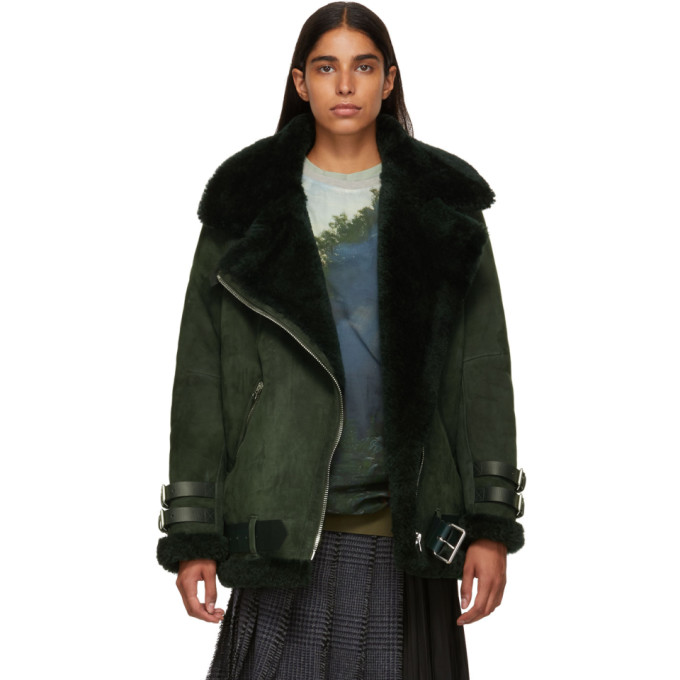 Acne Studios | Acne Studios Green Suede and Shearling Velocite Jacket | Clouty