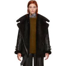 Acne Studios   Acne Studios Black Leather and Shearling Velocite Jacket   Clouty