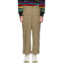 Acne Studios | Acne Studios Beige and Blue Checkered Trousers | Clouty