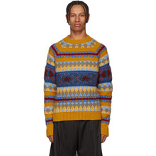 Acne Studios   Acne Studios Yellow Striped Jacquard Crewneck Sweater   Clouty