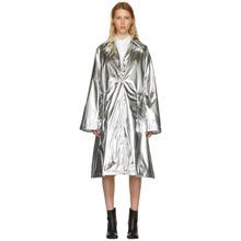 MM6 Maison Margiela | MM6 Maison Margiela Silver Shiny A-Line Trench Coat | Clouty