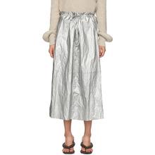 MM6 Maison Margiela | MM6 Maison Martin Margiela Silver Shiny Skirt | Clouty